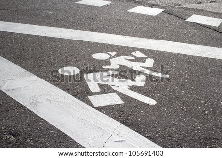 Children crossing street sign - stock photo
