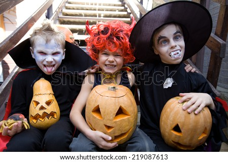 children curve faces in fairy costume on holiday halloween - stock photo