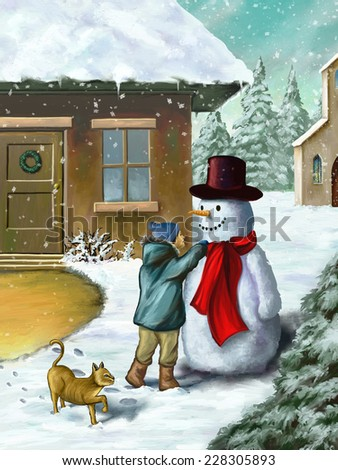 Children decorating a snowman in a beautiful winter landscape. Digital illustration. - stock photo