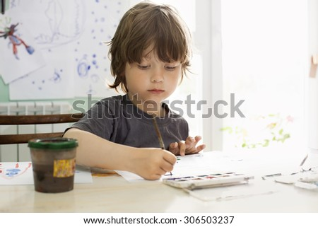 Children draw in home - stock photo