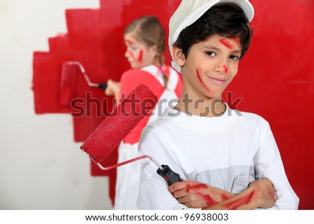 children dressed as painters - stock photo