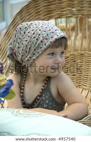 children expressions. portrait of a sweet girl - stock photo