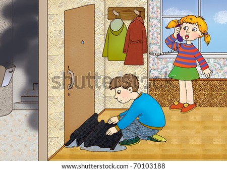 children felt the smell of smoke and act - stock photo