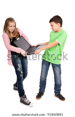 Children fighting over a laptop, isolated on white background - stock photo