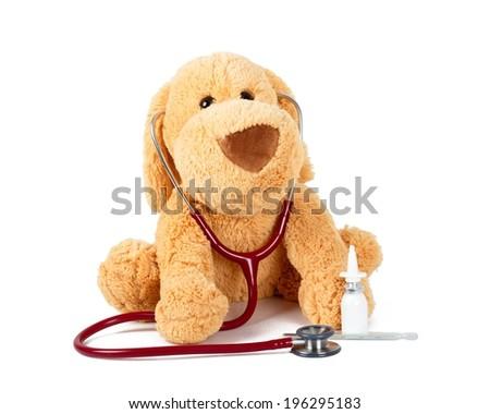 Children friendly checkup with Teddy bear. - stock photo