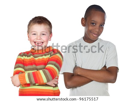 Children friends isolated on a over white background - stock photo