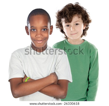 Children friends on a over white background - stock photo