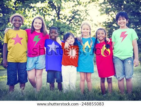 Children Friendship Bonding Happiness Outdoors Concept - stock photo