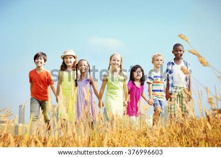 Children Friendship Smiling Happiness Concept - stock photo