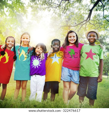 Children Friendship Togetherness Smiling Happiness - stock photo