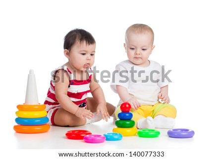 children girls playing toys together - stock photo