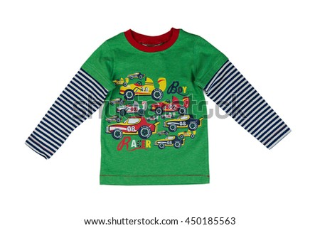Children green striped sweater with long sleeves. Isolate on white. - stock photo
