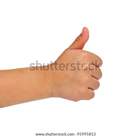 children hand making sign. Isolated on white background - stock photo