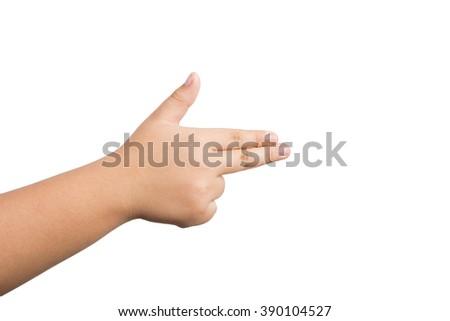 children hand mimicking a gun on white background - stock photo