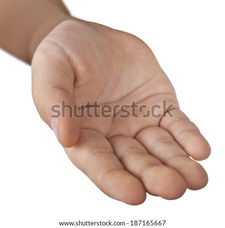 Children hand on a white background. - stock photo