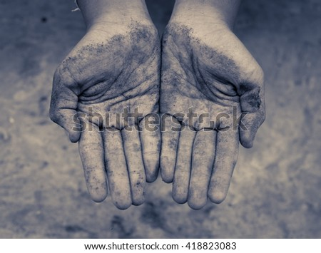 Children hands dirty , vintage tone - stock photo