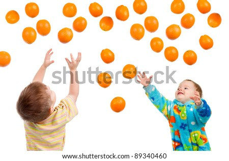 children  hang on one's lips  orange isolated on white background - stock photo