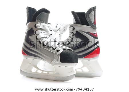 Children hockey skates isolated over pure white background - stock photo