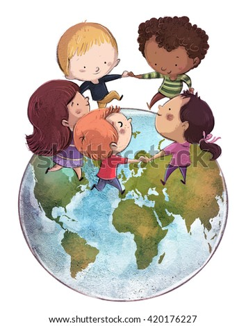 children holding hands around the world - stock photo