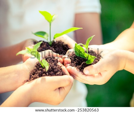 Children holding young plant in hands against spring green background. Ecology concept. Earth day - stock photo