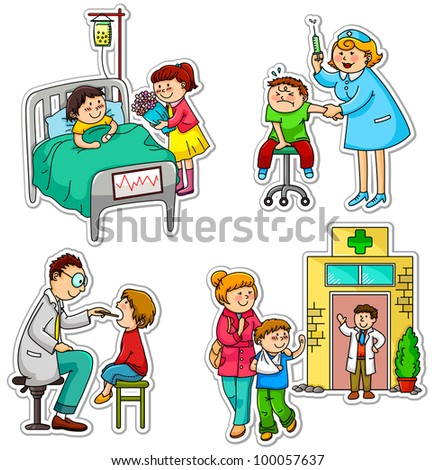 children in different situations related to health and medicine (vector available in my portfolio) - stock photo