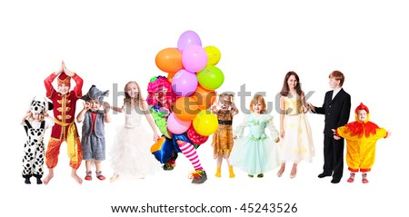 children in fancy dress isolated on white - stock photo