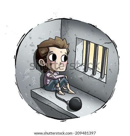 Children in jail toon - stock photo