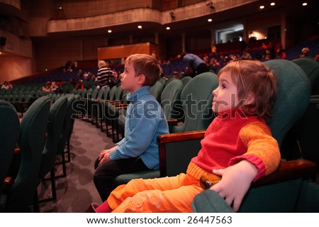 Children in theater - stock photo