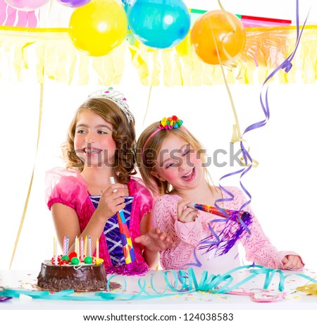 children kid in birthday party dancing happy laughing with balloons serpentine and garlands - stock photo