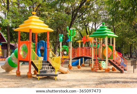 Children kid playground for kindergarten and elementary student leisure and recreation activity with toy and slider leftover in the park in childhood color style - stock photo