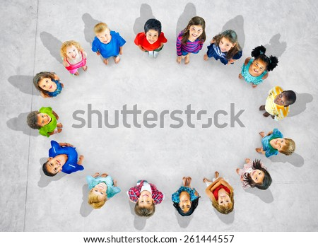 Children Kids Cheerful Childhood Diversity Concept - stock photo