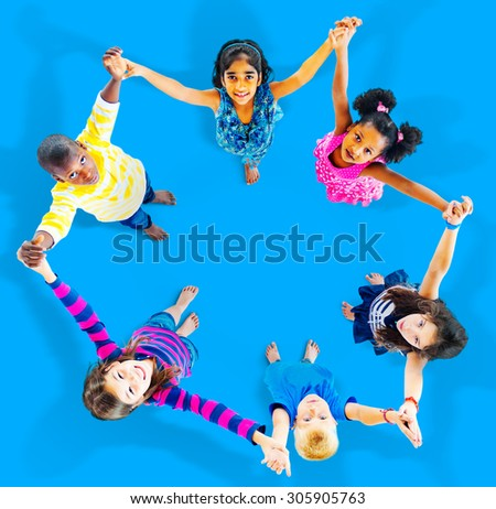 Children Kids Cheerful Unity Diversity Concept - stock photo
