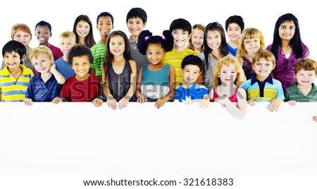 Children Kids Childhood Friendship Happiness Diversity Concept - stock photo