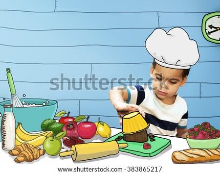 Children Kids Cooking Kitchen Fun Concept - stock photo