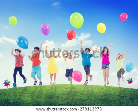 Children Kids Fun Summer Balloon Celebration Healthy Lifestyle - stock photo