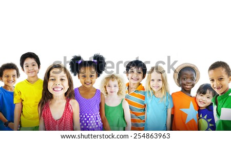 Children Kids Happines Multiethnic Group Cheerful Concept - stock photo