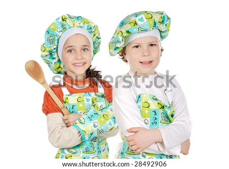Children learning to cook a over white background - stock photo