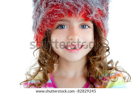 Children little girl with winter fur cap red and silver - stock photo