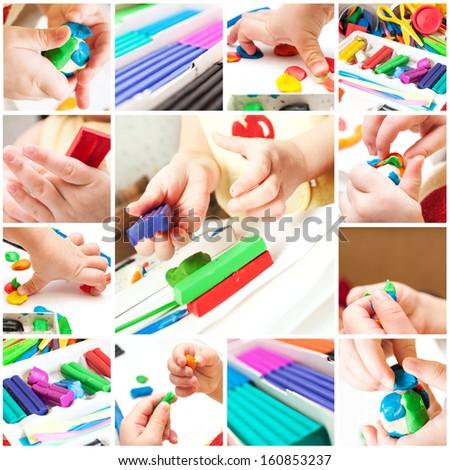 Children mold plasticine - stock photo