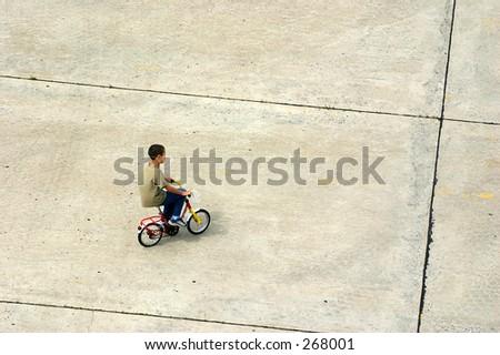 Children on bicycle - stock photo