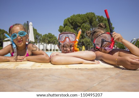 Children on the pool - stock photo