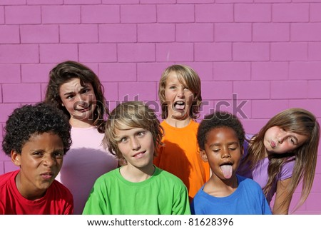 children or kids with funny faces - stock photo