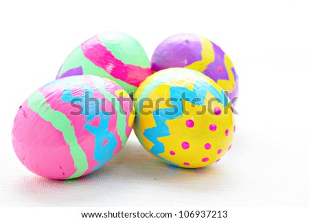 children paint colorful easter egg - stock photo