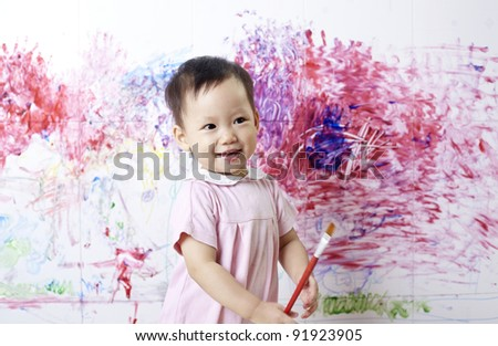 Children painting - stock photo