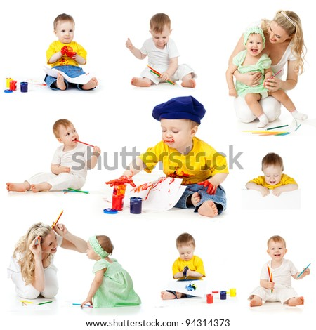 children painting and drawing pencils isolated on white background - stock photo