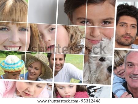 children, parents and grandparents - stock photo