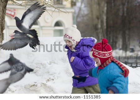 Children play with pigeons - stock photo