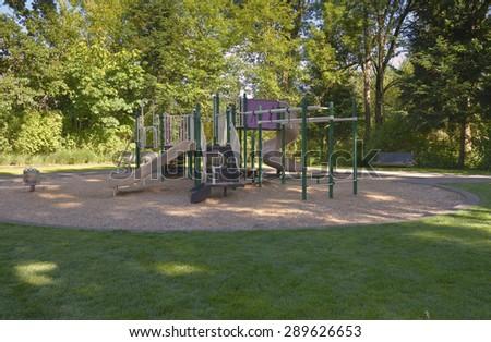 Children playground Fairview Village park Oregon. - stock photo