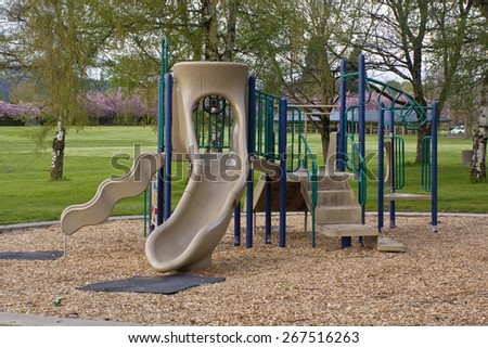 Children playground in a public park Oregon. - stock photo