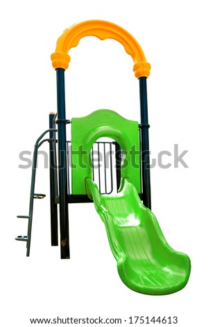 Children playground in the park isolated on white background - stock photo